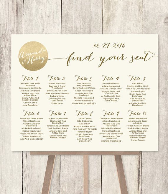 Gold Seating Chart Sign Sparkle Wedding Metallic And Cream Printable File Or Printed Shipped