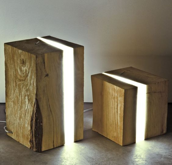 Naturally Dead Cedar Wood Blocks With Led Diffusers Enclosed Within Epoxy Resin Casts Are Used