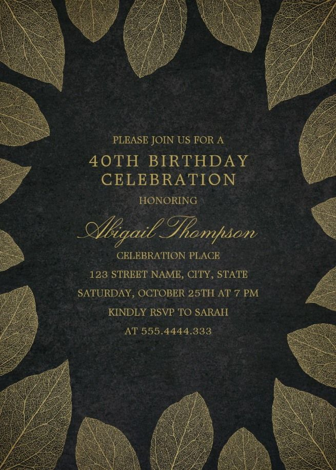Gold Leaves 40th Birthday Invitations