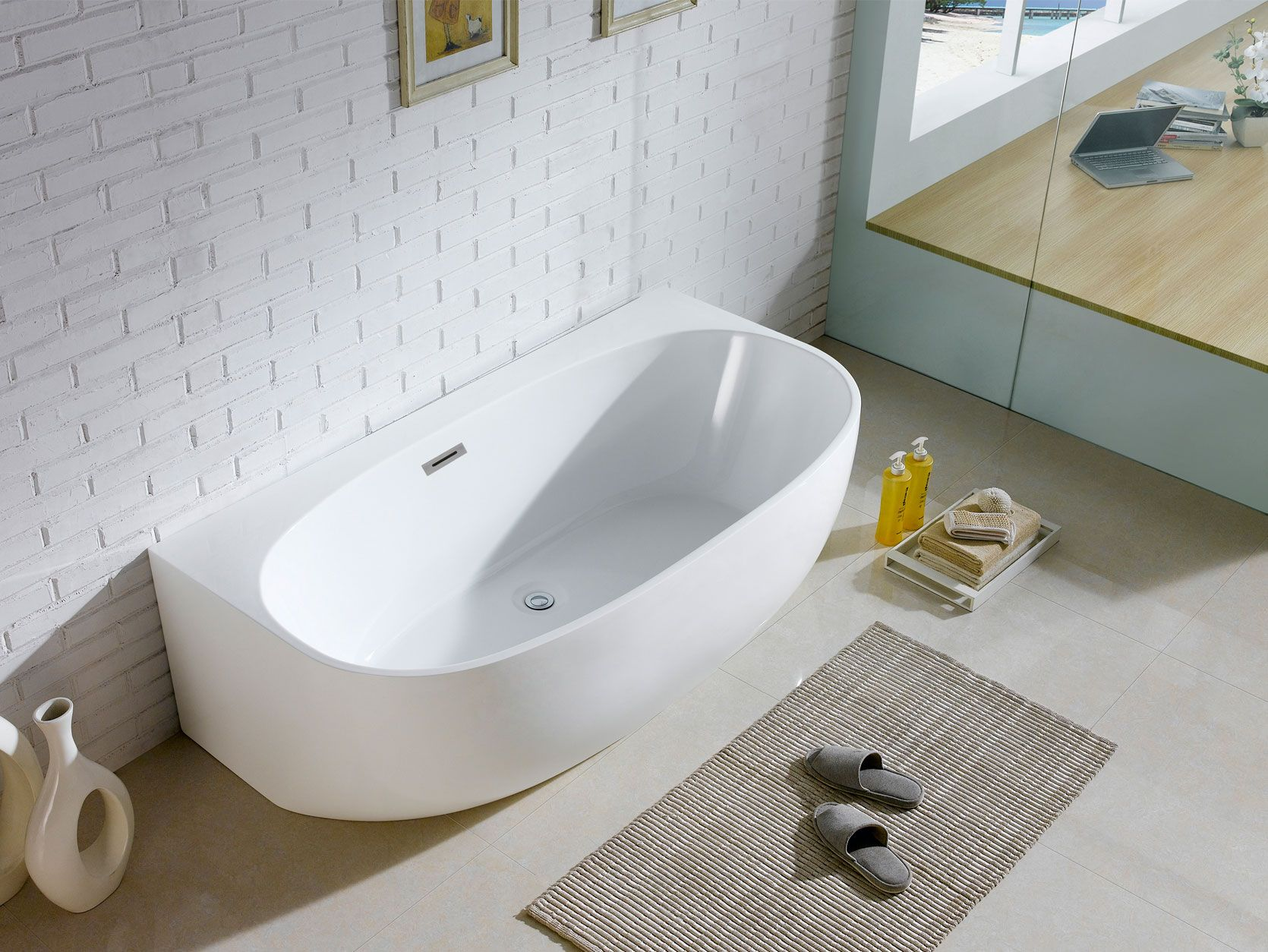 Monte 58 X 33 White Oval Soaking Bathtub By Pacific Collection