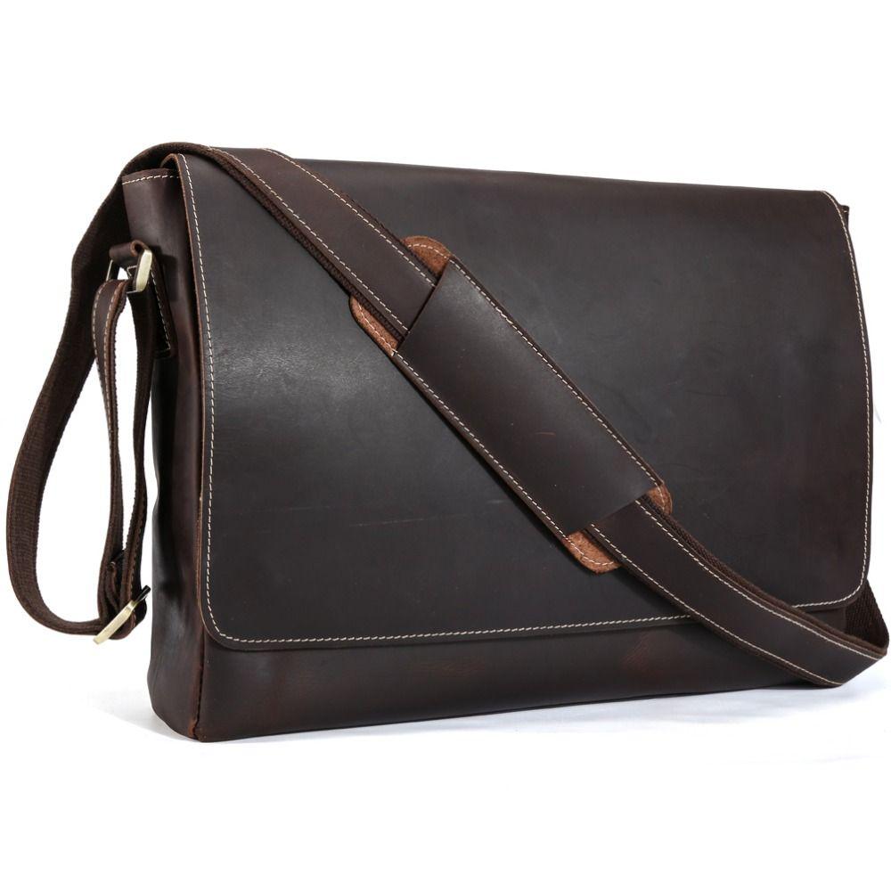 TIDING Genuine Leather 15 inch Laptop Messenger Bag Men Simple ...