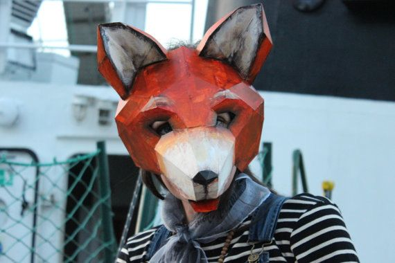 diy halloween mask fox mask fox costume animal mask pdf
