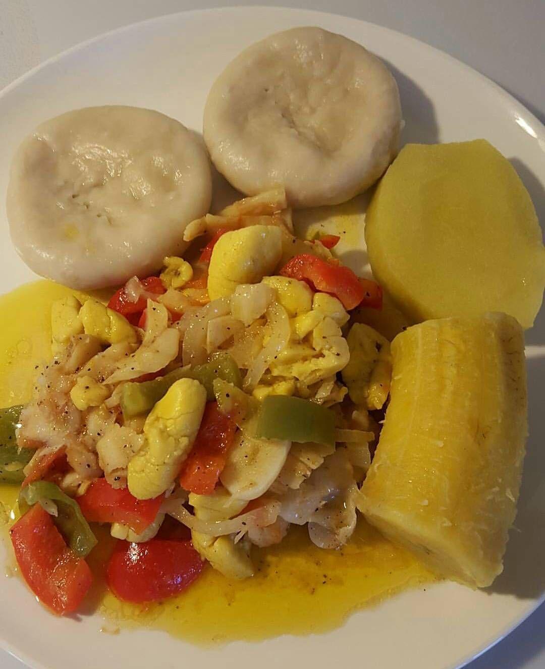 dinner anyone ackeesaltfish dumpling yam plantain