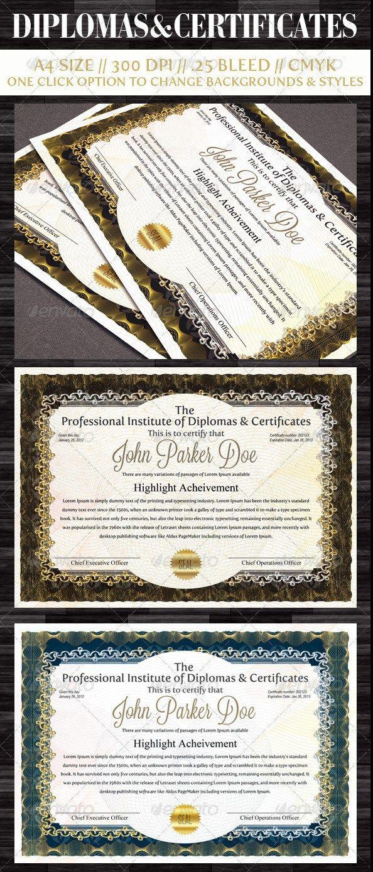 Diplomas & Certificates Templates | Templates | Pinterest