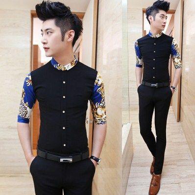 2014 Man Fashion Shirts Stripe Splicing Asian Men Clothing Slim ...