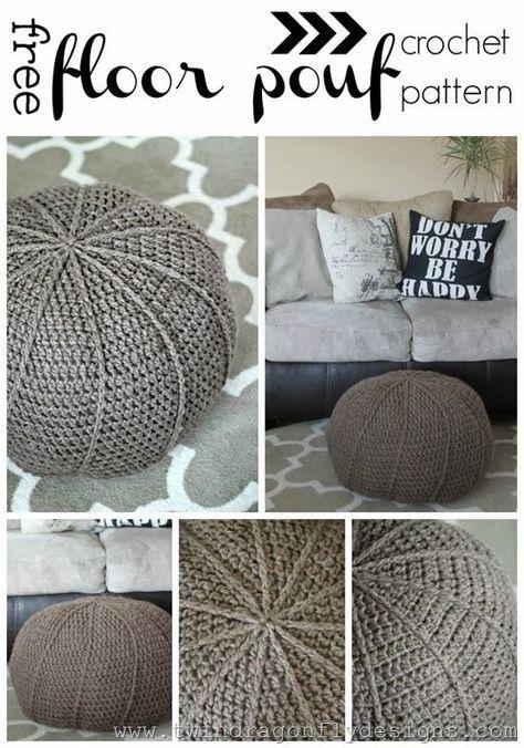 Free Crochet Floor Pouf Pattern   Pufs y Tejido