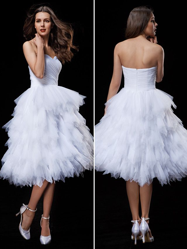 Lan Ting Ball Gown Wedding Dress - White Knee-length Sweetheart Tulle - USD $109.99
