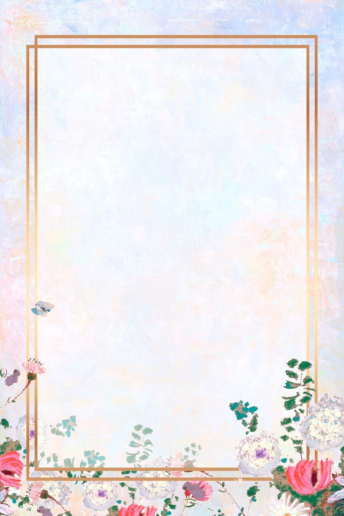 Download Premium Vector Of Rectangle Gold Frame On Pastel Background Pastel Background Floral Poster Framed Wallpaper