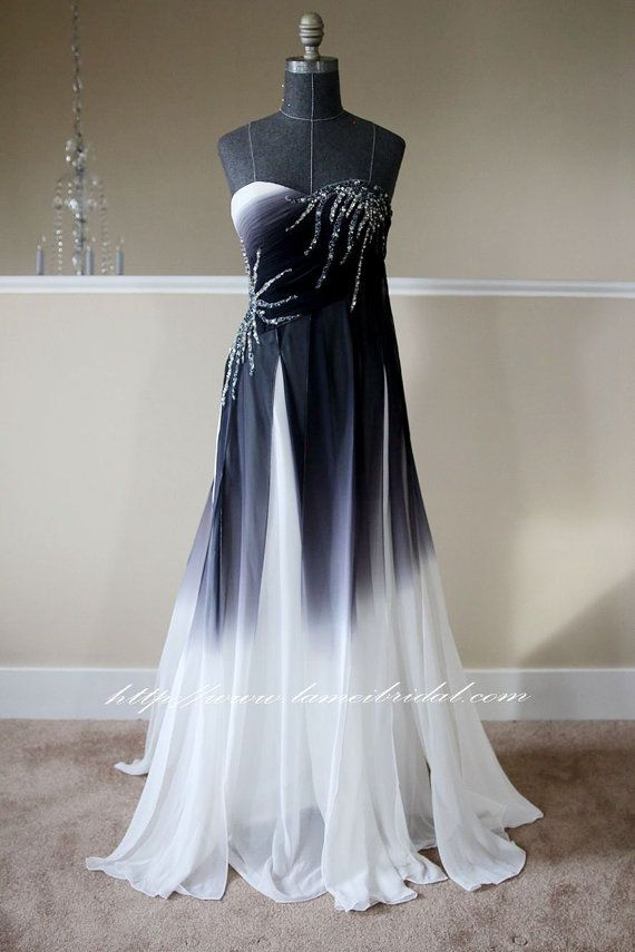 55b1951211a Reay to ship -Black And White Long Gradient Silk Chiffon Prom dress ...