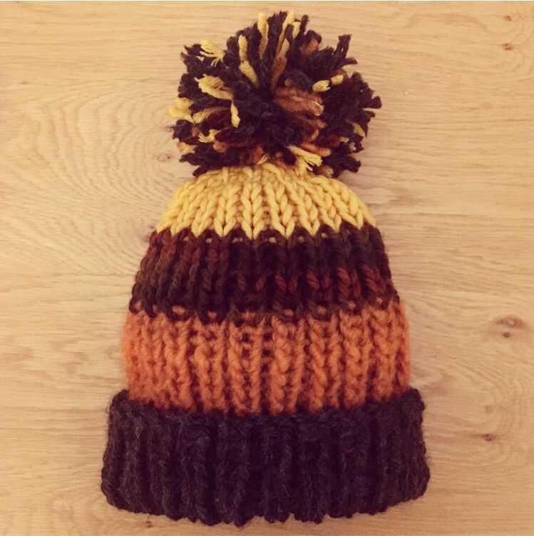The Hardy Beanie - ribbed pattern adult bobble hat - Craft ...