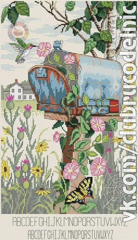 Letter box cross stitches garden scenes pinterest letter letter box spiritdancerdesigns Image collections