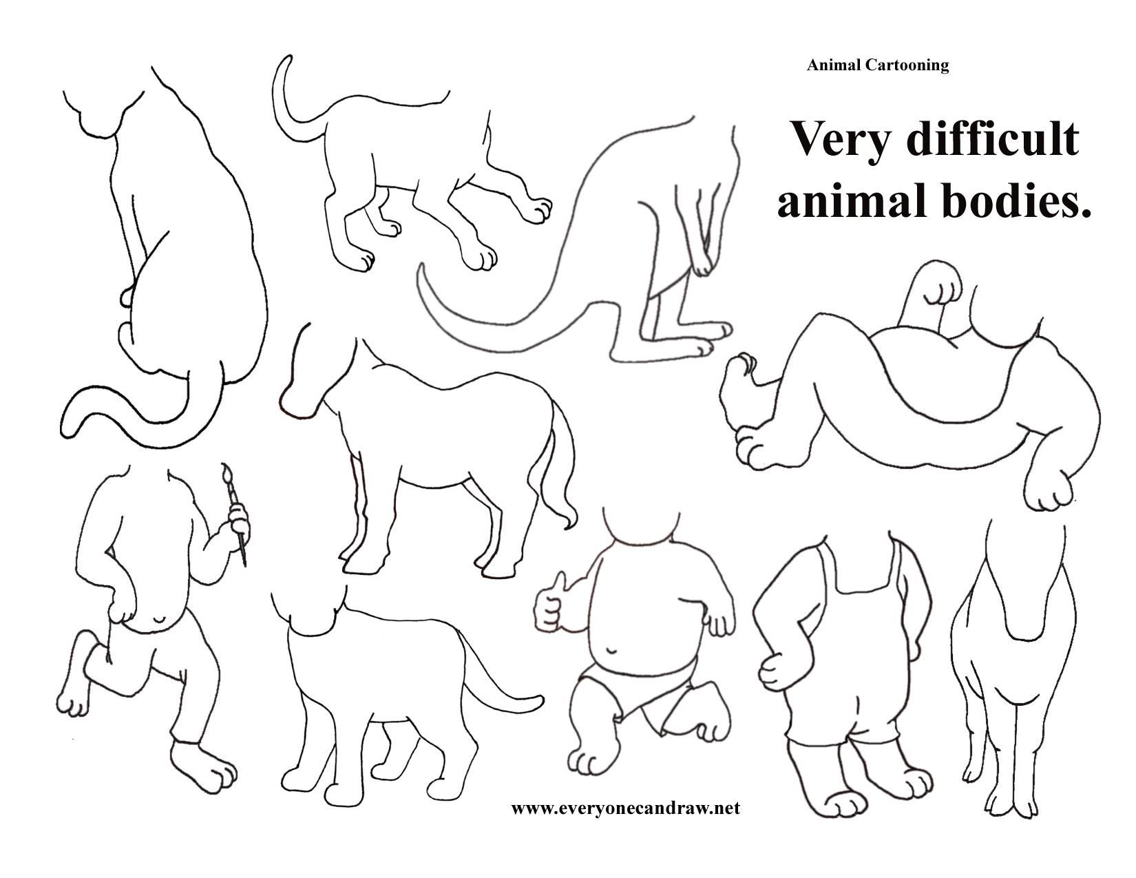 Animal Bodies Very Difficult Drawing For Kids Cartoon Animals Draw On Photos [ 1275 x 1650 Pixel ]