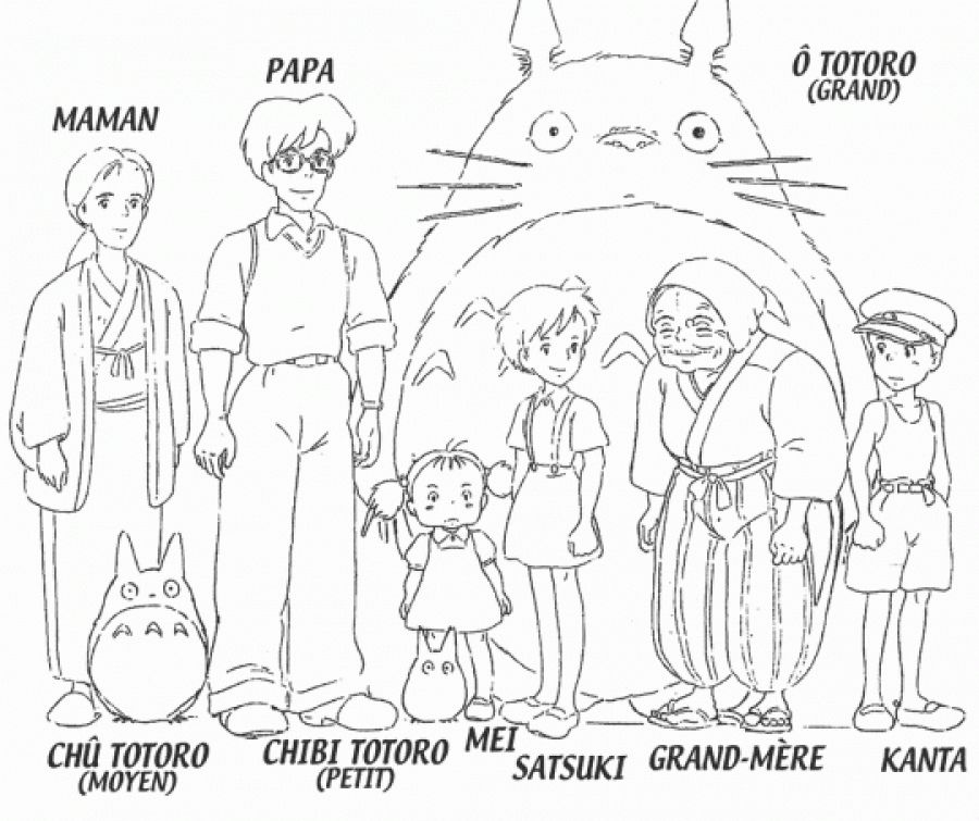 all characters from my neighbor totoro coloring pages free printable