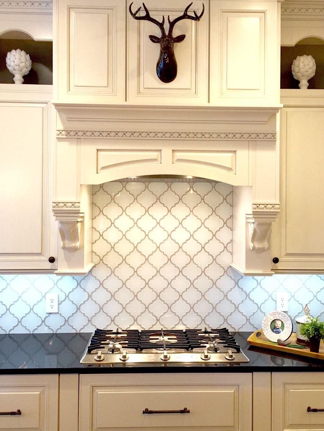 Snow White Arabesque Glass Mosaic Tiles Farmhouse Kitchen