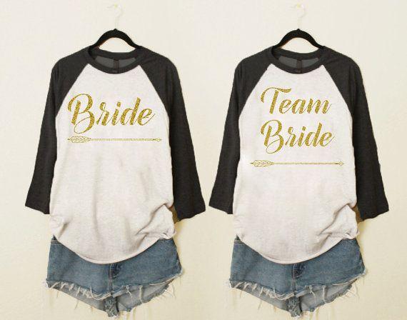 team bride shirtsbride shirt bridal shower shirtsbridesmaid shirtbridesmaid baseball shirtbachelorette partybride to be gold glitter