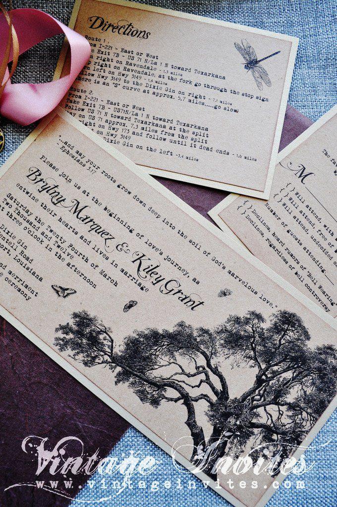 The Rosa Rustic Wedding Invitation   Vintage wedding invitations ...