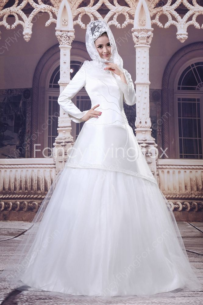 Fashionable Long Sleeves A-line Floor Length Muslim Wedding Gowns ...