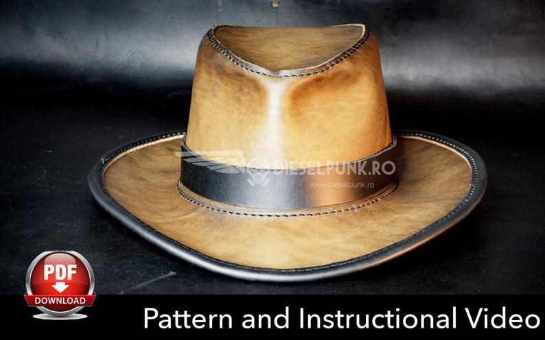 Leather Hat Pattern Diy Pattern Hat Diy Pdf Download Etsy In 2021 Leather Hat Pattern Leather Hats Diy Leather Hat