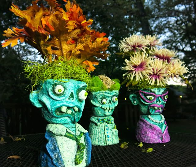 Diy Zombie Head Planters Flower Pot Art Fall Art Projects Zombie Head