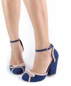 b068f479f4 Sapato Boneca Azul e Bege