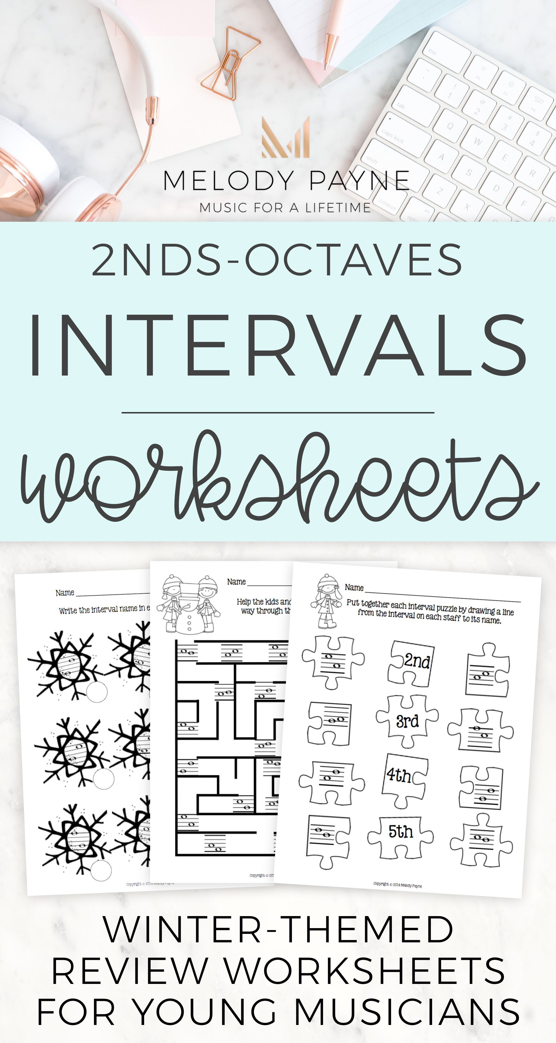 In These Eight Snowy And Wintery Printable Review Worksheets Your Music Students Will Match Intervals Travel Thro Learn Piano Teaching Music Keyboard Lessons