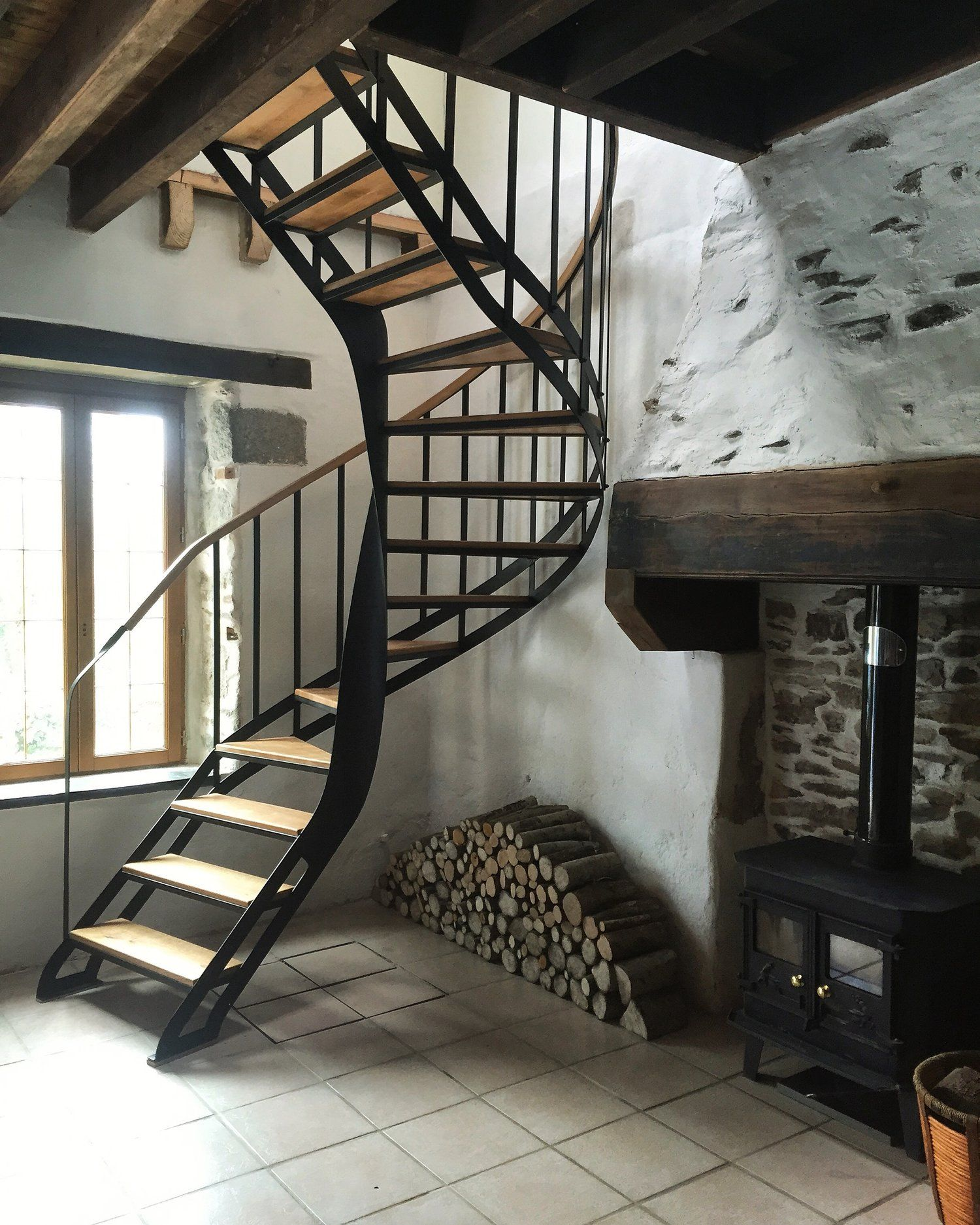 Woco Ltd Bespoke Painted Steel And Oak Spiral Staircase Fitting In A Tight  Corner Of An