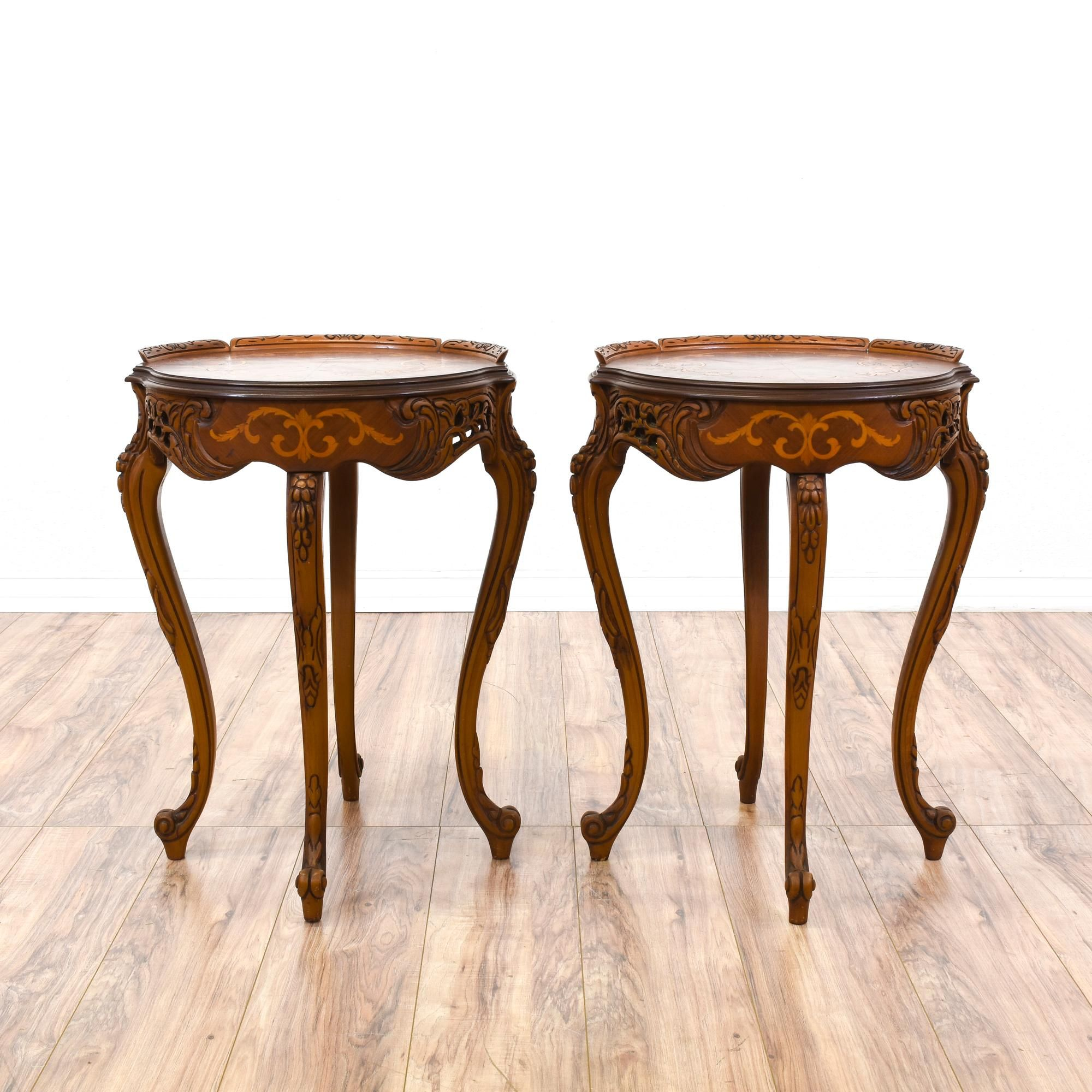 pair of victorian ornate carved inlay end tables | cherry finish