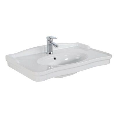 Photo of WS Bath Collections Antique Ceramic 32″ Wall Mount Bathroom Sink with Overflow | Perigold
