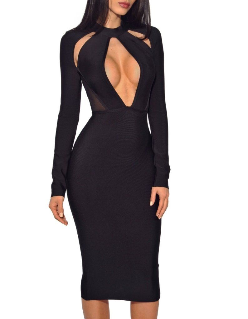 503ca871f8c58 Karine Long Sleeve Cut Out Bandage Dress in 2019   50+ Night Out ...