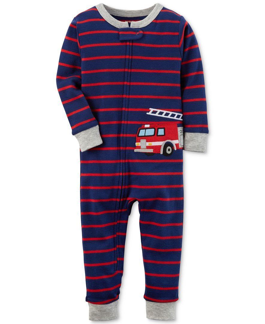 Carter S 1 Pc Striped Firetruck Cotton Pajamas Toddler Boys 2t 5t Baby Boy Pajamas Boys Pajamas