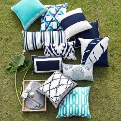 Outdoor Printed Saint Tropez Ikat Lumbar Pillow 14 X 22 Navy