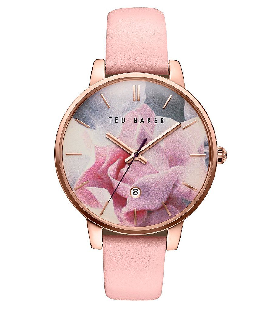 bc2d5da5fd0 Ted Baker London Kate Iconic Floral Analog   Date Leather-Strap Watch