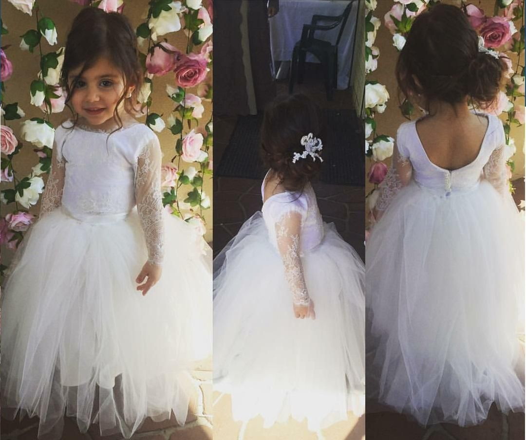 Bateau ball gown ankle length lace white tulle flower girl dress bateau ball gown ankle length lace white tulle flower girl dress izmirmasajfo
