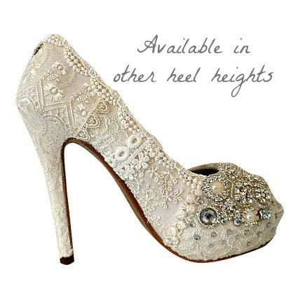Vintage Lace Wedding Shoes Bridal High Heels Lacy Bridal Shoes