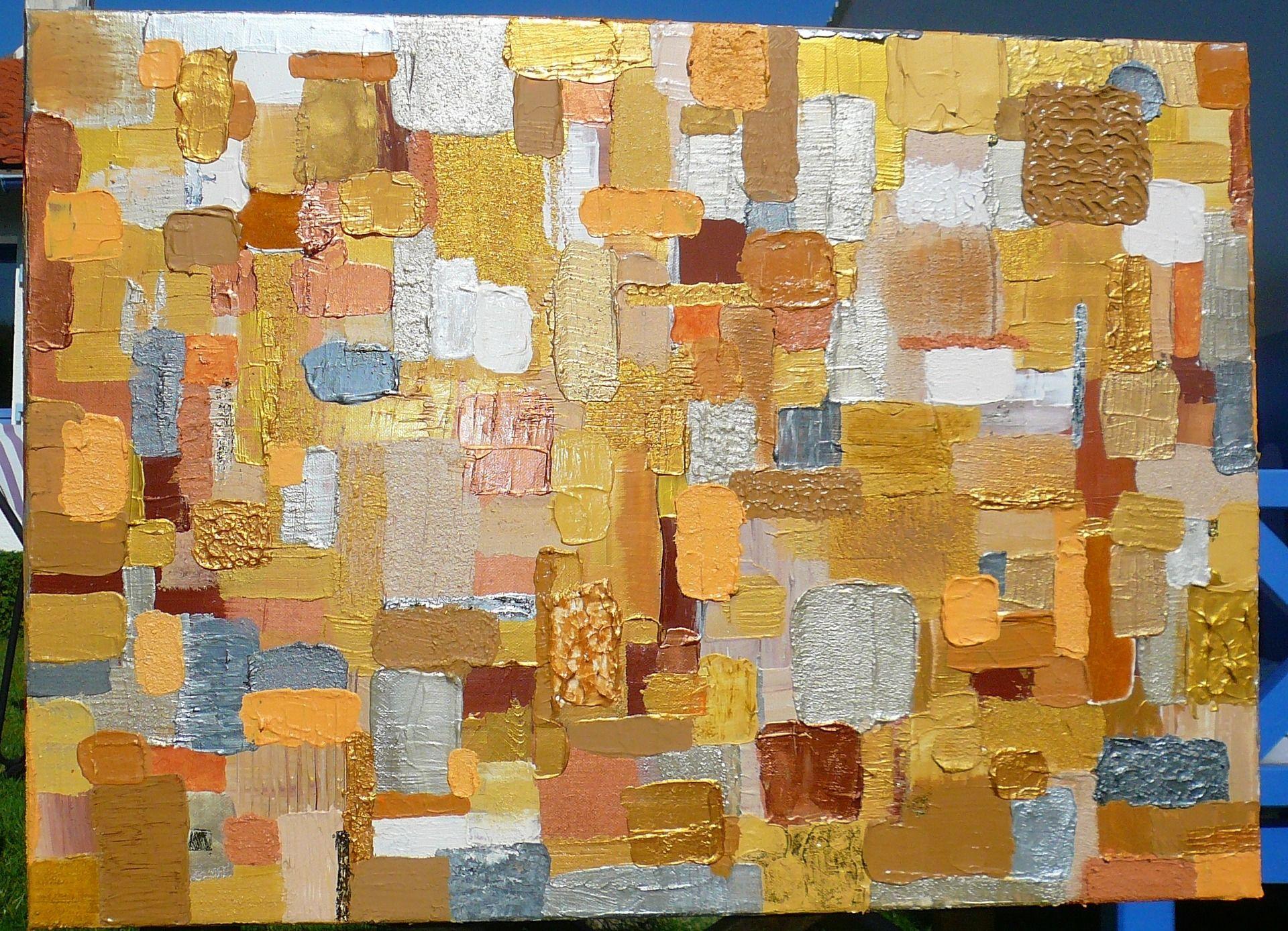 tableau contemporain or gris argent ocre et orange avec des reliefs peintures par eaudeplume. Black Bedroom Furniture Sets. Home Design Ideas