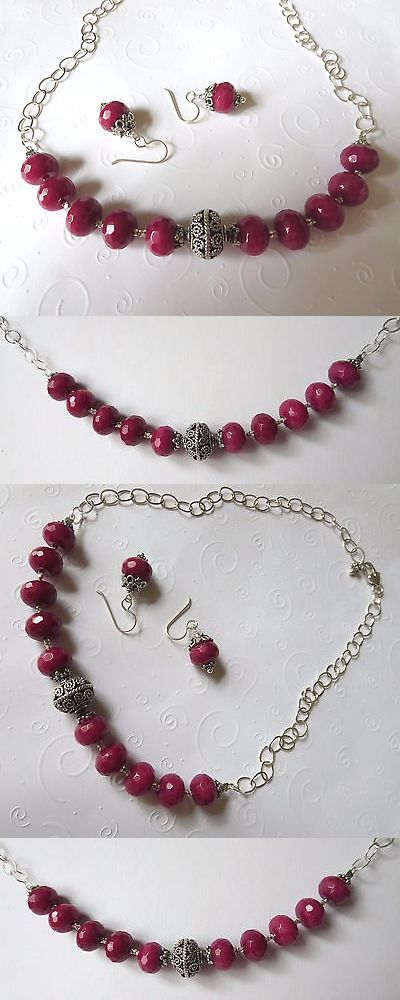 Sets 34071: Ruby Jade And Sterling Silver Necklace And Earring Set Handmade BUY IT NOW ONLY: $139.99