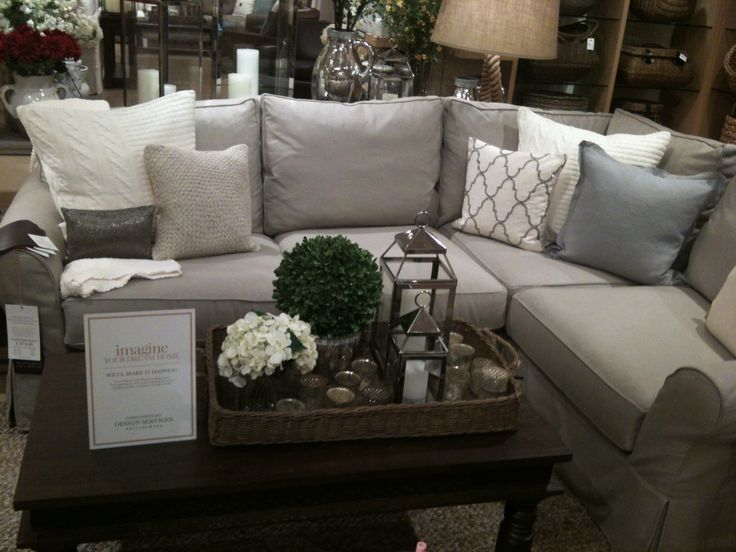Grey Sectional Living Room Ideas Coral And Gray Pin By Sarah Pluto On Family Pottery Barn Sofa Decor Coffee Table Pillows