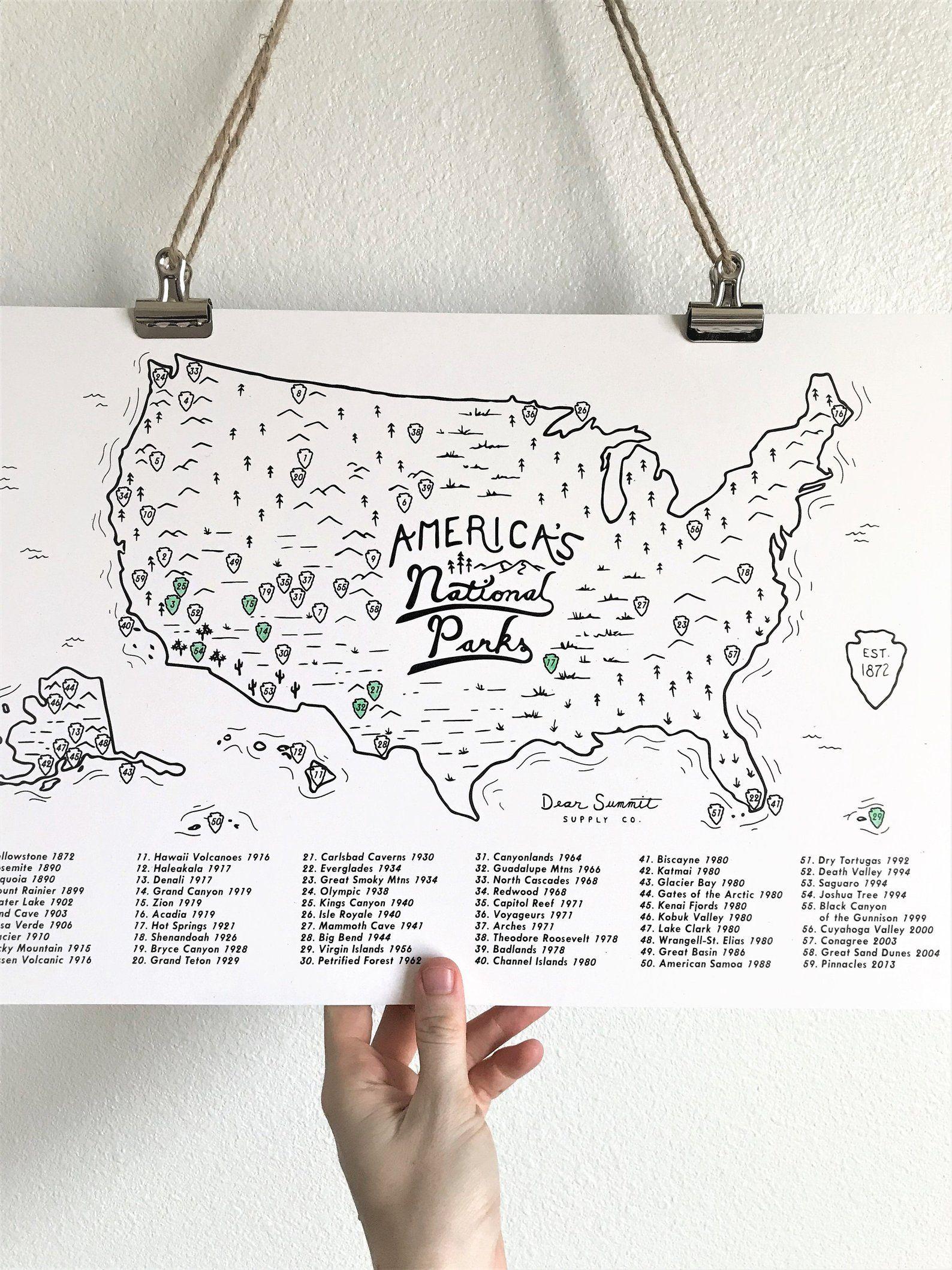 National Parks Map Checklist Map National Park Poster Etsy In 2020 National Park Posters National Parks Map National Parks Usa