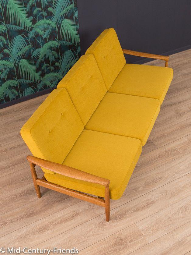 vintage sessel 60er sofa couch 50er vintage senf ein designerst ck von mid century. Black Bedroom Furniture Sets. Home Design Ideas