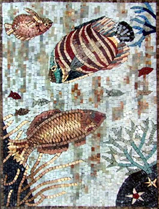 Decorative Stone Tile An090 Marble Mosaic Fish Decorative Stone Tile  Animal Marble
