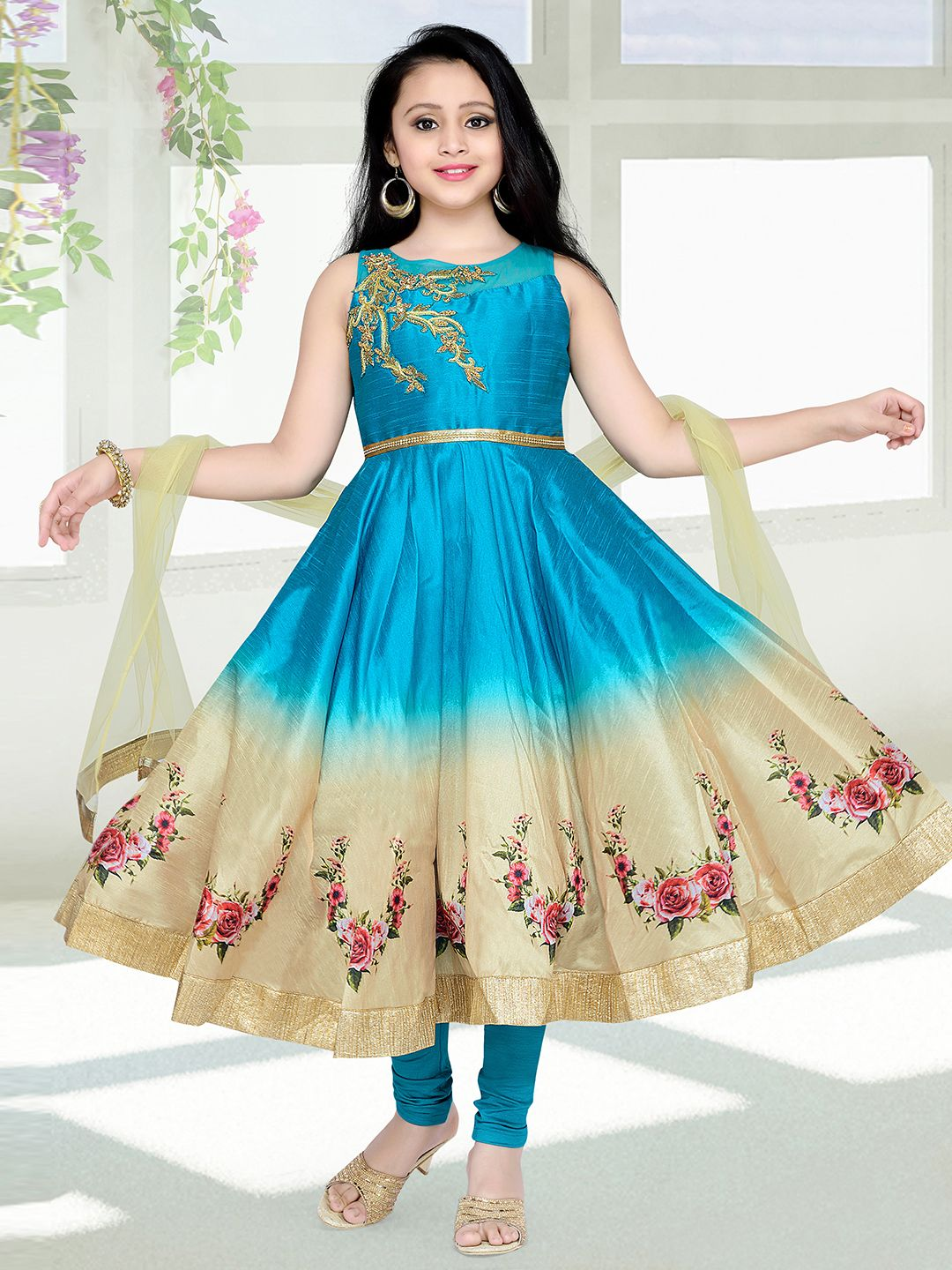 G3 Exclusive Silk Green Wedding Wear Anarkali Suit | Kids Fashion ...
