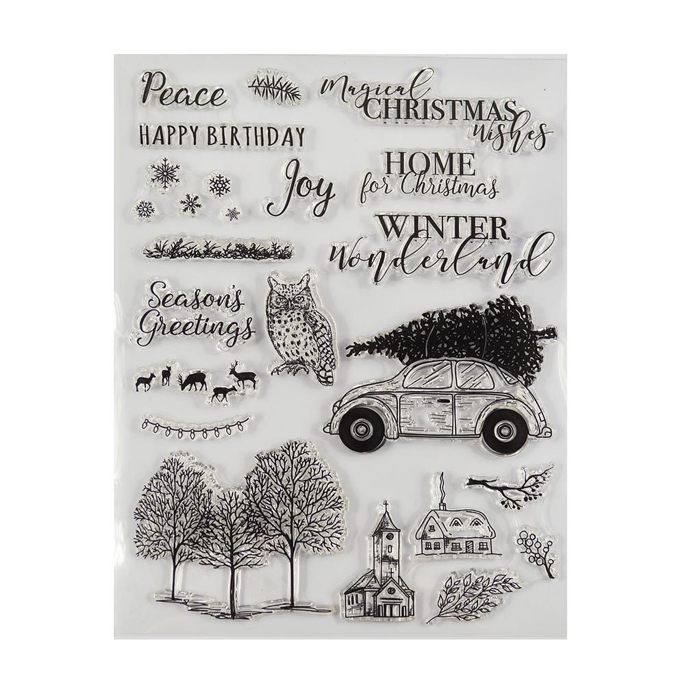 Welcome to Joyful Home 1pc Retro Car Rubber Clear Stamp for Card Making Decoration and Scrapbooking