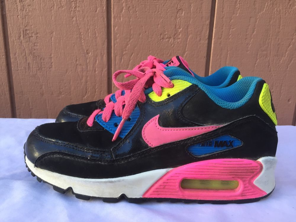 506237f61aa5 Nike Air Max 90 LTR (GS) Youth Shoes Black Pink Pow-White Blue ...
