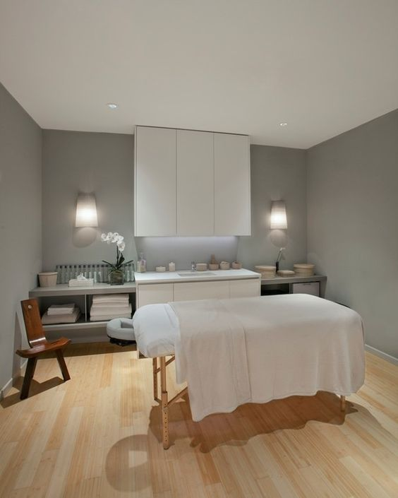 Massage Therapy Room Design Ideas: Laminate Floors, Grey Walls,massage Table At Center