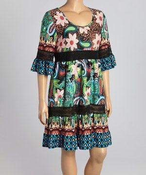 a94b79435528 Black   Green Floral Scoop Neck Dress - Plus by Reborn Collection  zulily   zulilyfinds