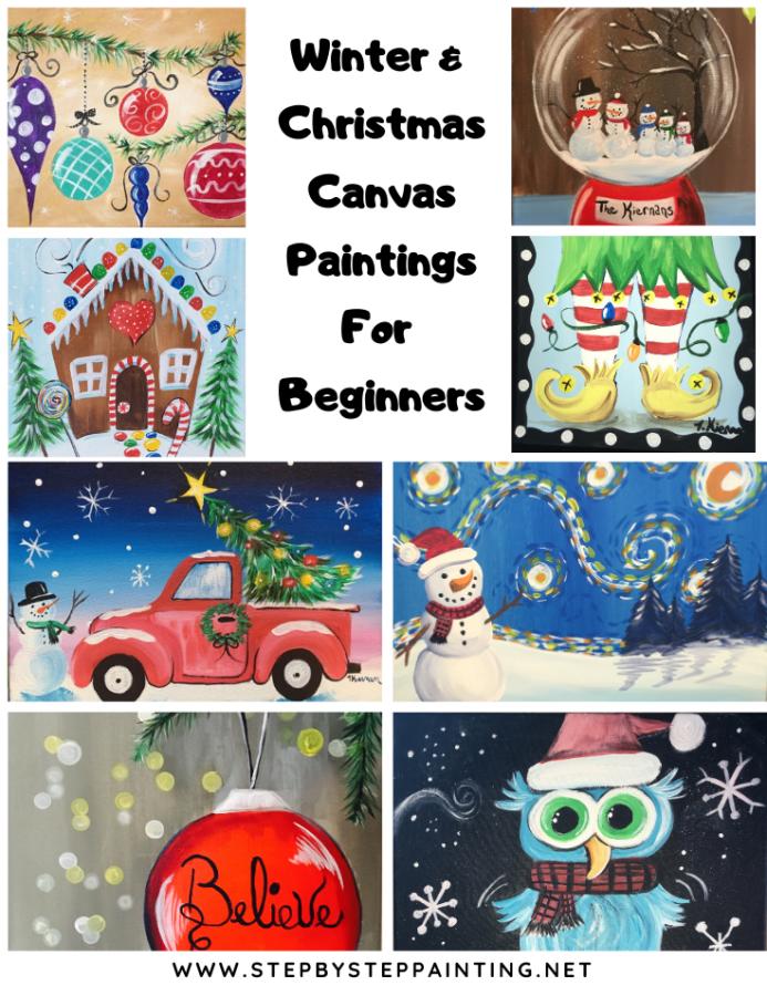 Christmas Paintings Canvas Painting Tutorials Christmas