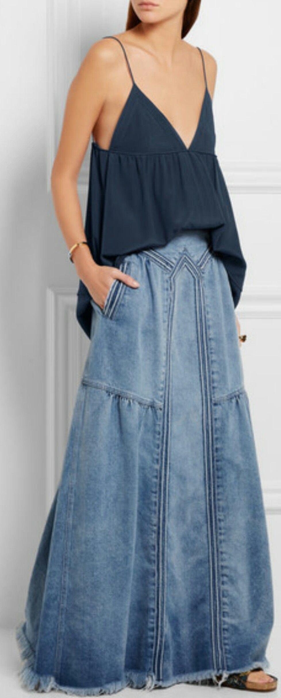 ada084be0853a DENIM - Frayed denim maxi skirt ( CHLOÉ )