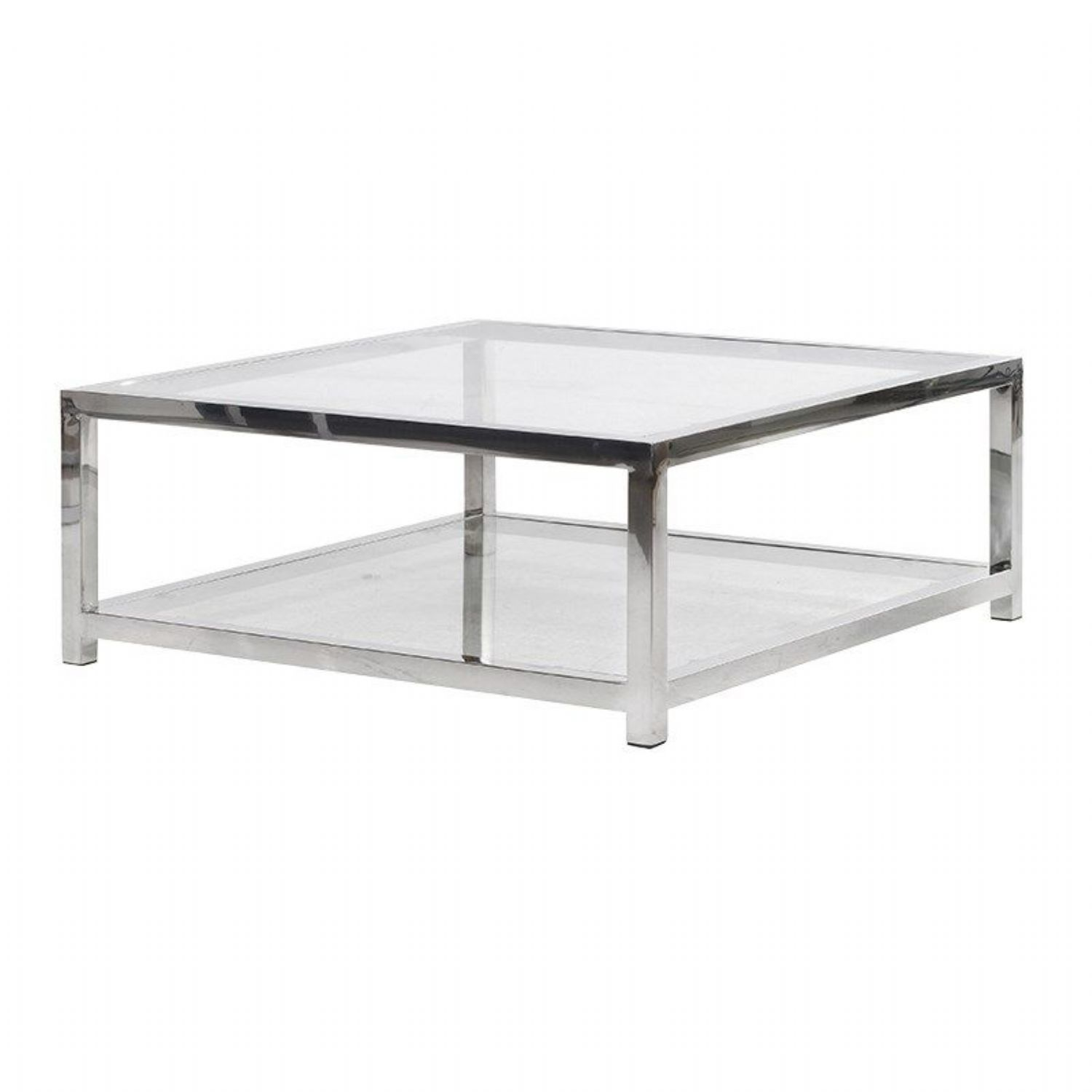 Terano Contemporary Metal and Glass Top Square Coffee Table Bath