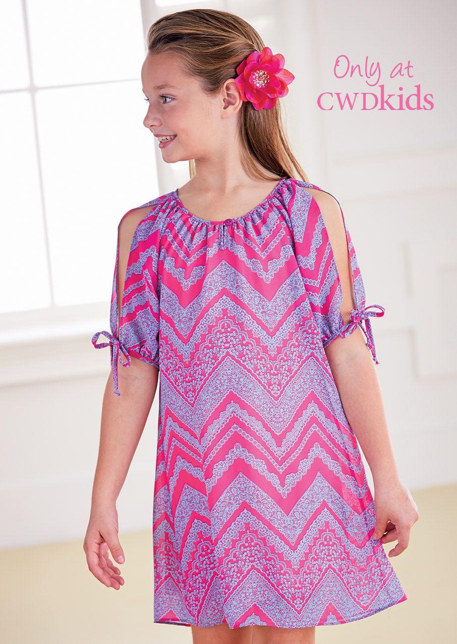 From cwdkids chevron open sleeve dress kids frocks pinterest