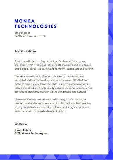 Blue Geometry Official Letterhead Stationary Design Pinterest